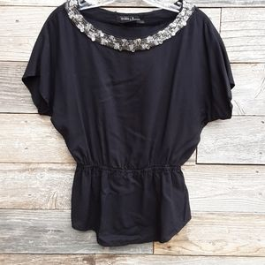 Guess by Marciano black short sleeve blouse sz XS